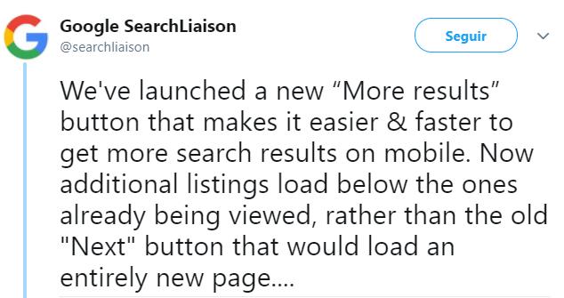"""Tweet Google """"Más resultados"""""""